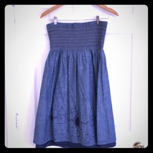 Paper denim and cloth strapless jean dress 3